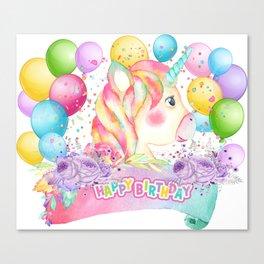 Happy Birthday Unicorn Party Canvas Print