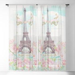 Eiffel Tower in Spring Sheer Curtain