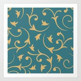 Baroque Design – Gold on Teal Art Print
