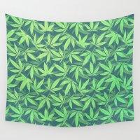 cannabis Wall Tapestries featuring  Cannabis / Hemp / 420 / Marijuana  - Pattern by badbugs_art
