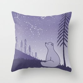 Bear and Constllations bule Throw Pillow