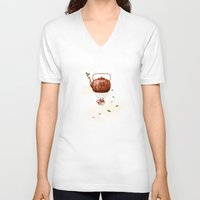 tea V-neck T-shirts featuring Tea for Two at Dusk by Paula Belle Flores