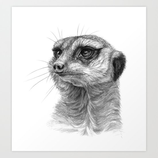 Meerkat-portrait G035 Art Print