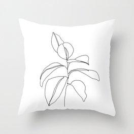 Flora - minimal line drawing Throw Pillow
