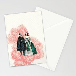 vintage couple pink damask roses Stationery Cards