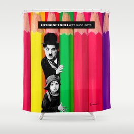 INTROSPENCIL / Pet Shop Boys - Introspective - The Kid Chaplin - Digital Illustration - Pop Art Shower Curtain