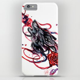 Howling Wolf and Rose iPhone Case