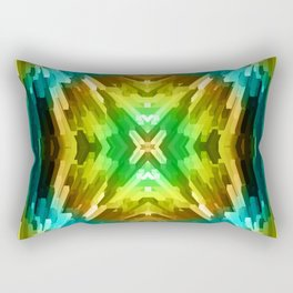 Golden Aqua Burst Rectangular Pillow