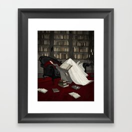 Asleep in the Library Framed Art Print