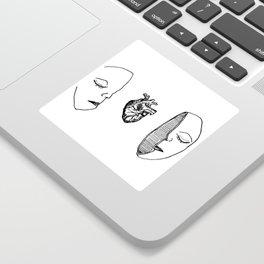 Heart Head Doodle Drawing Love Mind Art Sticker