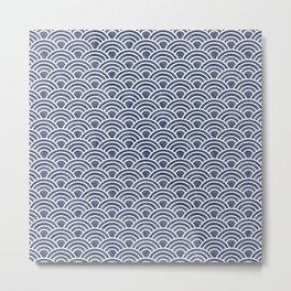 Dark Blue Japanese Seigaiha Wave - Watercolor Ocean Art, Classic Blue Pattern Metal Print