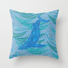 Watercolor Whale Dive Throw Pillow