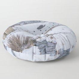 White Barn in Utah Mountains Floor Pillow