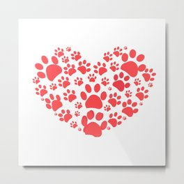 Dog paw print made of red heart Metal Print
