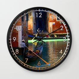 Gondoliers On A Venetian Canal Wall Clock