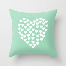 Hearts Heart White on Mint Throw Pillow