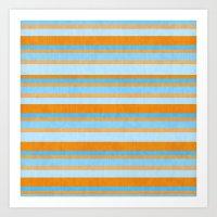 Something Fishy Stripes. Art Print