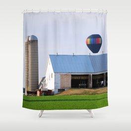 Hot Air Balloon at Farm Shower Curtain