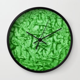 Green Waves and Ripples Textured Wavelet Paint Art Wall Clock