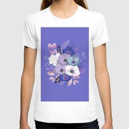 Anemones & Gardenia Blue bouquet T-shirt