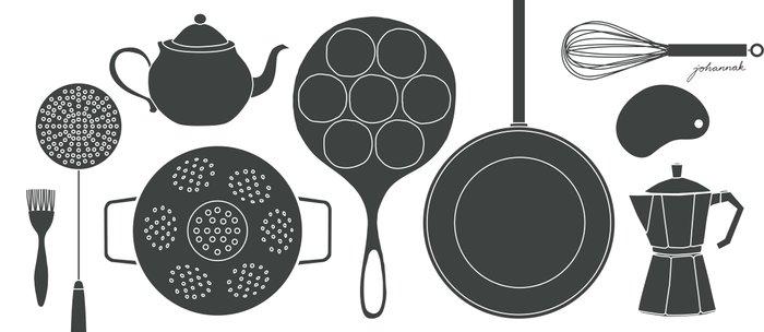 Kitchen Tools (black on white) Coffee Mug