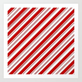 winter holiday xmas red white striped peppermint candy cane Art Print