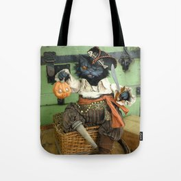 Rucus Studio Halloween Pirate Cat Tote Bag
