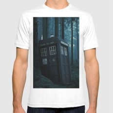 Tardis / Doctor who MEDIUM White Mens Fitted Tee