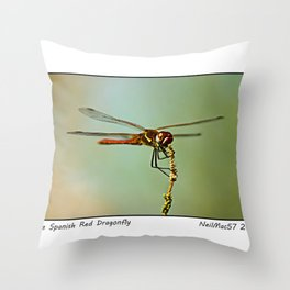 The Spanish Red Dragon Fly Throw Pillow