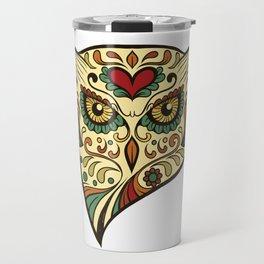 Ornate Owl Sugar Skull Gift Bird Lover Gift Travel Mug