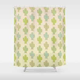 Cactus in sandy desert Shower Curtain