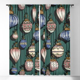 Christmas Ornaments Teal Green & pink palette  Blackout Curtain
