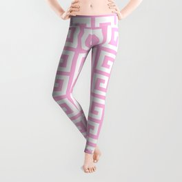Greek Key (Pink & White Pattern) Leggings