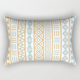 Aztec Influence Pattern Blue White Gold Rectangular Pillow