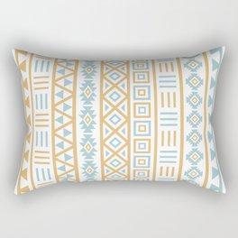 Aztec Influence Pattern Blue White Gold Rectangular Pillow