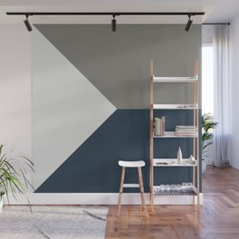 Blue Grey White Abstract Geometric Art Wall Mural