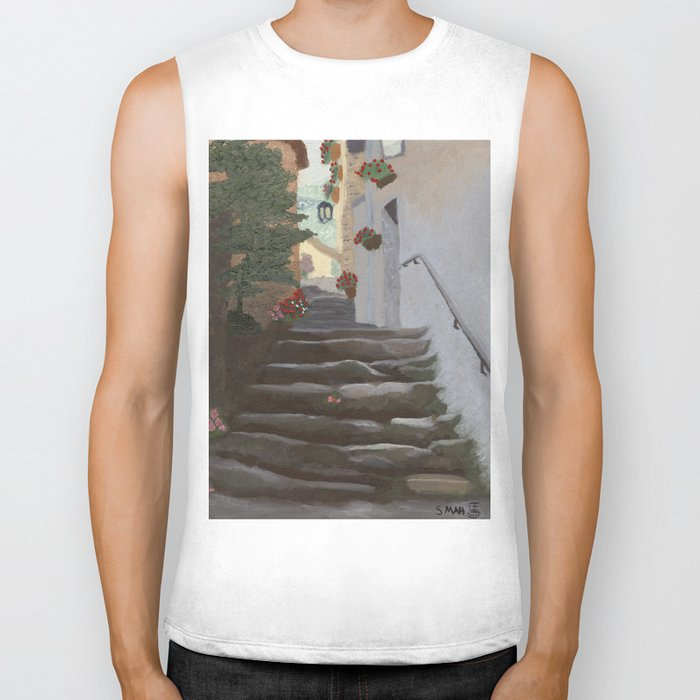 Italian Street and Stairs  Biker Tank