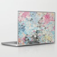bicycles Laptop & iPad Skins featuring bicycles & triangles by sugi by saki