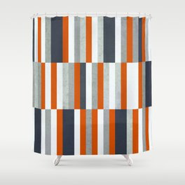 Orange, Navy Blue, Gray / Grey Stripes, Abstract Nautical Maritime Design by Shower Curtain
