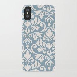 Flourish Damask Art I Cream on Blue iPhone Case