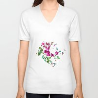 free shipping V-neck T-shirts featuring Rose garden by Ordiraptus