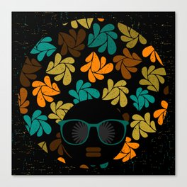 Afro Diva: Fall Colors Brown Gold Teal Canvas Print