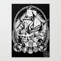 kraken Canvas Prints featuring Kraken  by Jamie Hodgson Illustration
