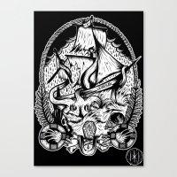 kraken Canvas Prints featuring Kraken  by Jamie Hodgson Illustration