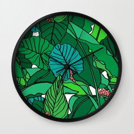 Jungle Leaves Illustrated in White Wall Clock