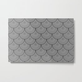 Hypnotic Black and White Circle Scales Pattern - Graphic Design Metal Print