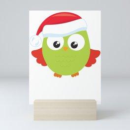 Christmas Owl Sanrta Hat Mini Art Print