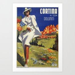 Vintage Italian Alps Cortina summer travel Art Print