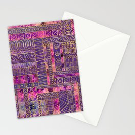 Tribal  Ethnic Boho Pattern gold and violet Stationery Cards