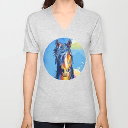 Horse Beauty - colorful animal portrait Unisex V-Neck